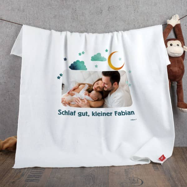 Babydecke mit Ihrem Foto und Wunschtext