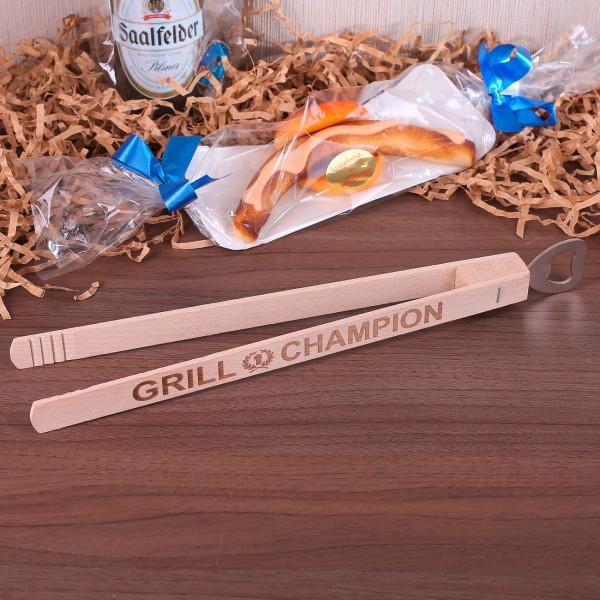Grillzange Grill Champion aus Holz mit Flaschenöffner