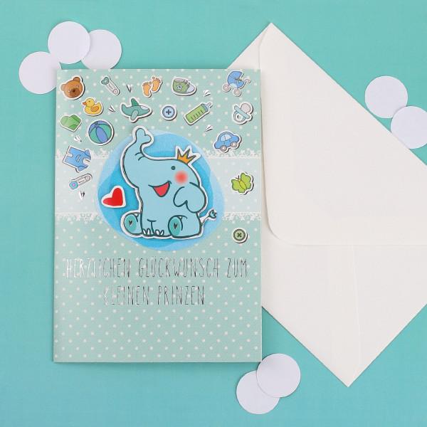 Glückwunschkarte zur Geburt - kleiner Prinz