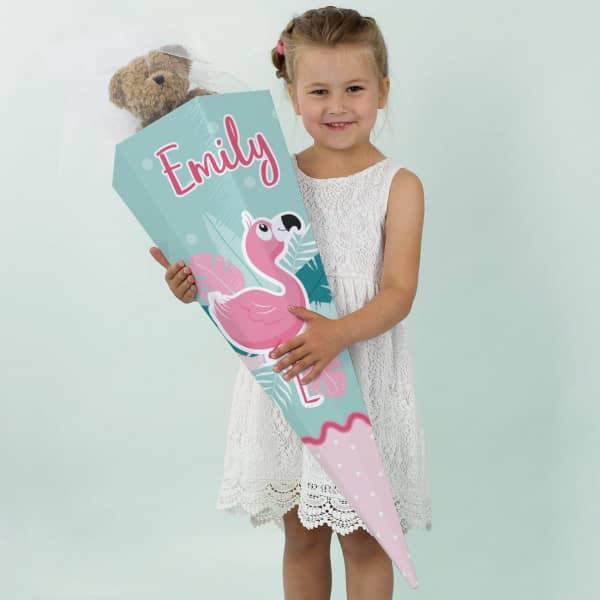 Schultüte für Mädchen mit Flamingo und Name