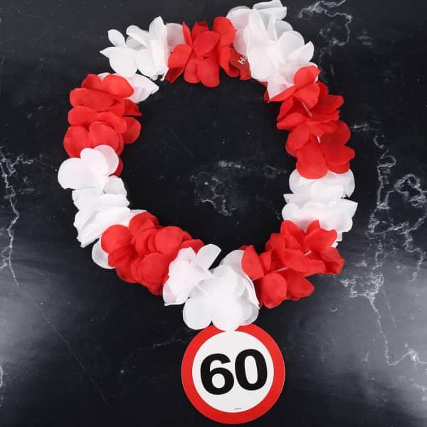 Hawaiikette mit Verkehrszeichen zum 60. Geburtstag