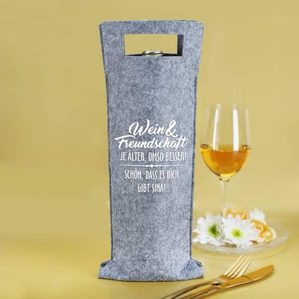 Wein & Freundschaft Flaschentasche