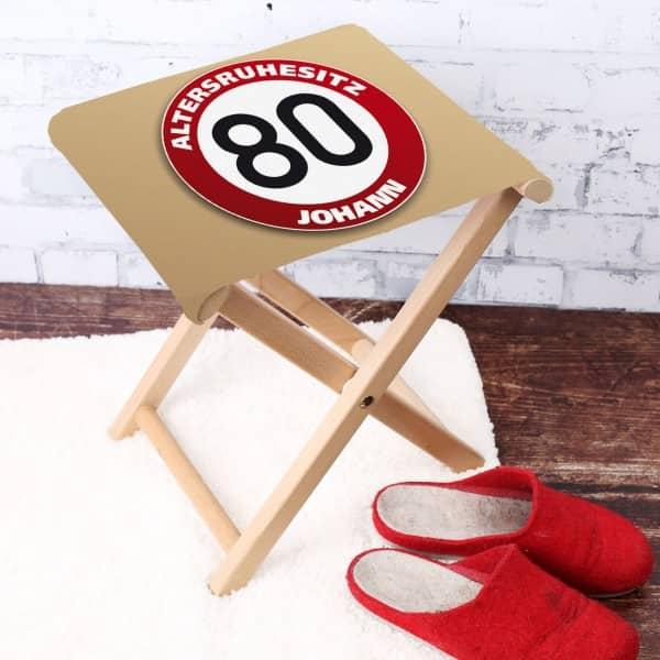 Klapphocker mit Namen zum 80. Geburtstag
