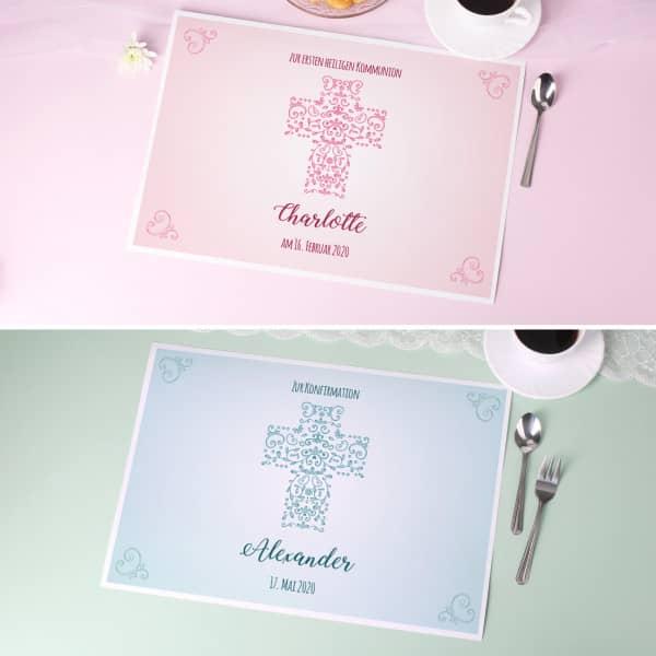 - 5er Set Platzdeckchen zur Kommunion in Pastel Farben - Onlineshop Geschenke online.de