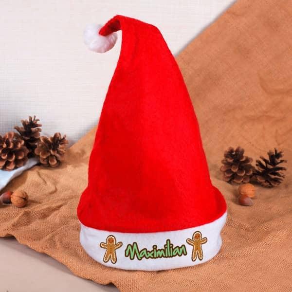 Weihnachtsmütze bedruckt mit Ihrem Wunschnamen und Lebkuchenmännchen