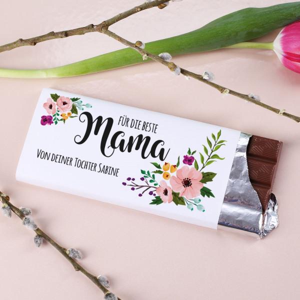 100g Schokolade zum Muttertag mit Blumenmotiv