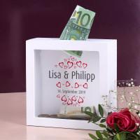 Bilderrahmen Spardose zur Hochzeit mit Herzen, Namen und Datum bedruckt