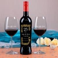 Personalisiertes Silberhochzeitsset mit Weinflasche und 2 Weingläsern