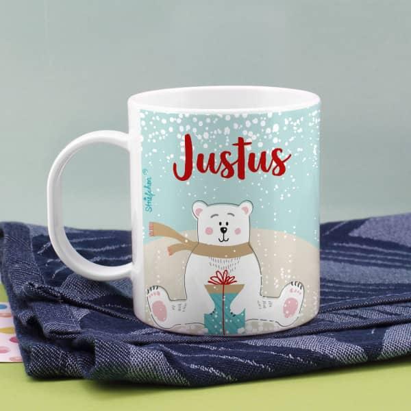 Eisbär Tasse aus bruchfestem Kunststoff mit Namensaufdruck