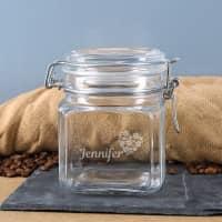 Kaffee Vorratsdose mit Namensgravur und Kaffeeherz