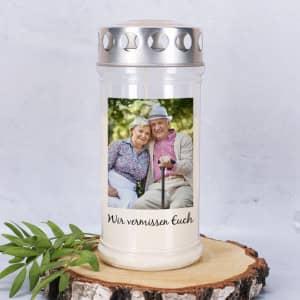 Grablicht mit Foto und Text personalisiert