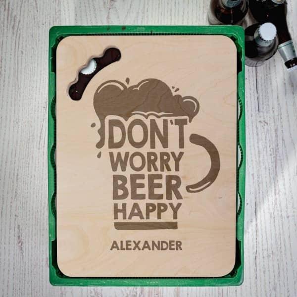 Gravierter Bierkastensitz Dont Worry Beer Happy mit Wunschtext