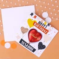 Happy Birthday - Geburtstagskarte mit Lindt-Schokoladenherz und Ihrem Wunschnamen