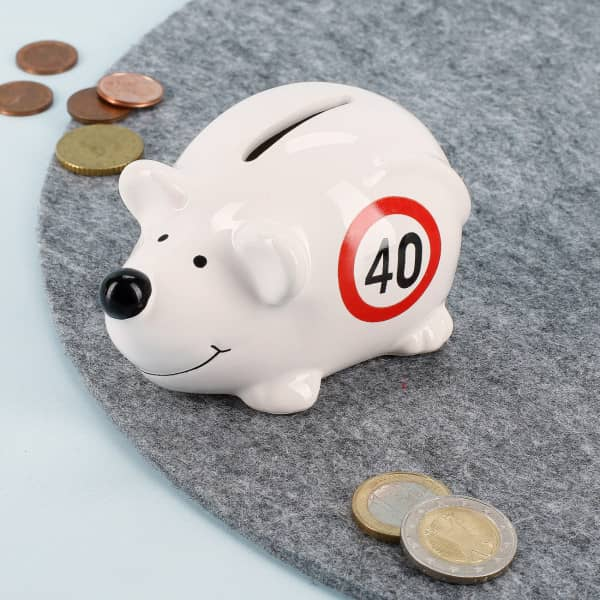 Kleine Spar-Maus in weiß zum 40. Geburtstag