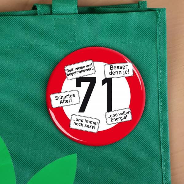 Button zum 71. Geburtstag
