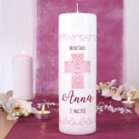Kerze zur Taufe, Kommunion oder Konfirmation mit Name, Datum, Wunschtext in rosé, 25 x 8 cm