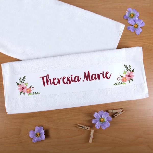 Handtuch mit Watercolor-Blumenranken und Wunschnamen