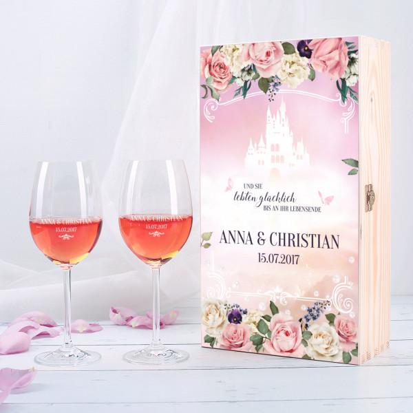 Weinbox zur Märchenhochzeit mit zwei gravierten Weingläsern