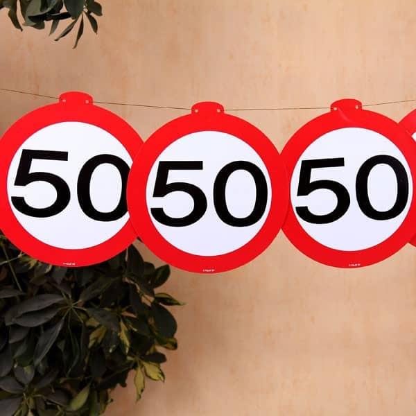 Deko Girlande Verkehrszeichen 50