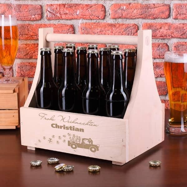 Bierträger aus Holz mit Weihnachtsmotiv und Name