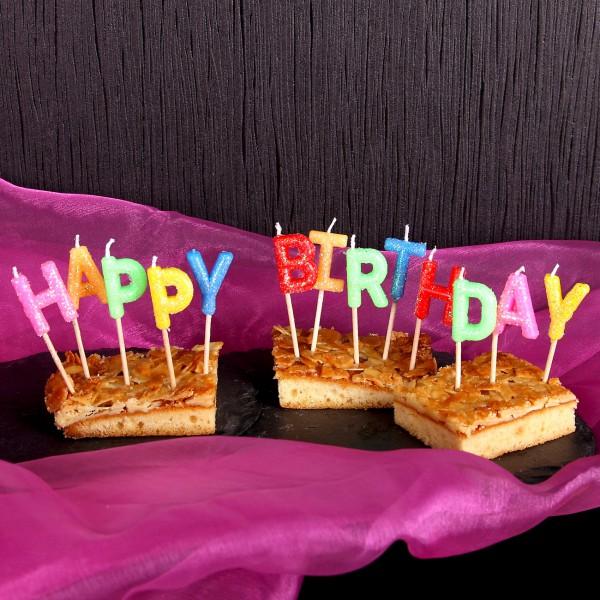 Buchstabenkerzen Happy Birthday mit Glitter