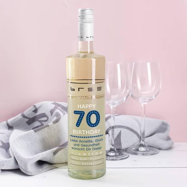 Weinflasche Happy Birthday 70