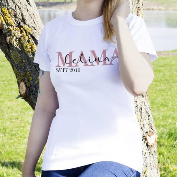 Weißes Damenshirt - Mama seit - mit Wunschaufdruck
