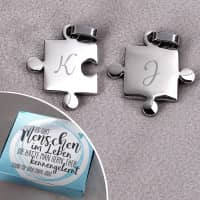 Zwei Puzzle Anhänger mit Geschenkbox - Es gibt Menschen im Leben