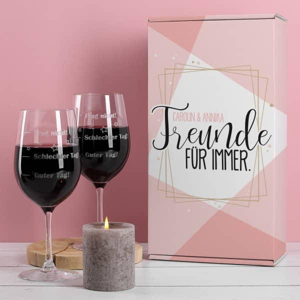 Geschenkset - Freunde für immer - mit zwei Gläsern in Verpackung