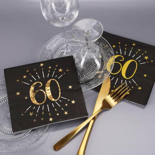 edle Servietten zum 60. Geburtstag