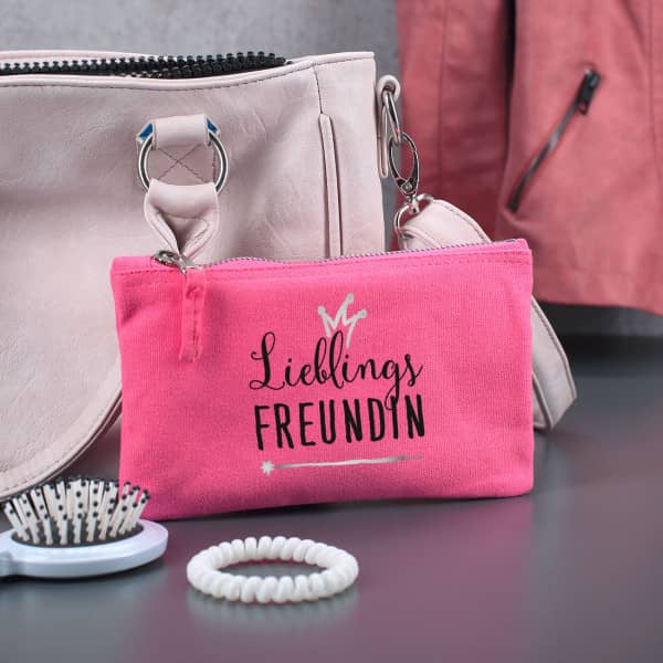 Pinke Tasche mit Aufdruck Lieblings...