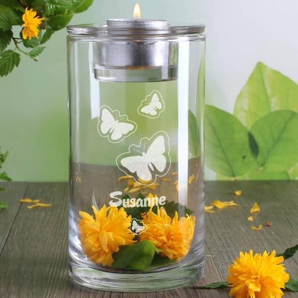 Windlicht mit Schmetterlingsmotiv