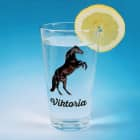 Trinkglas mit schwarzem Hengst und Name