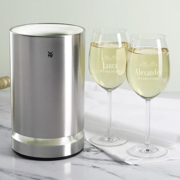Weinkühler mit zwei Gläsern im Set
