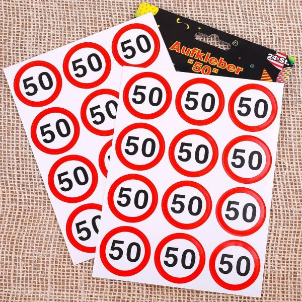 24 Aufkleber zum 50. Geburtstag
