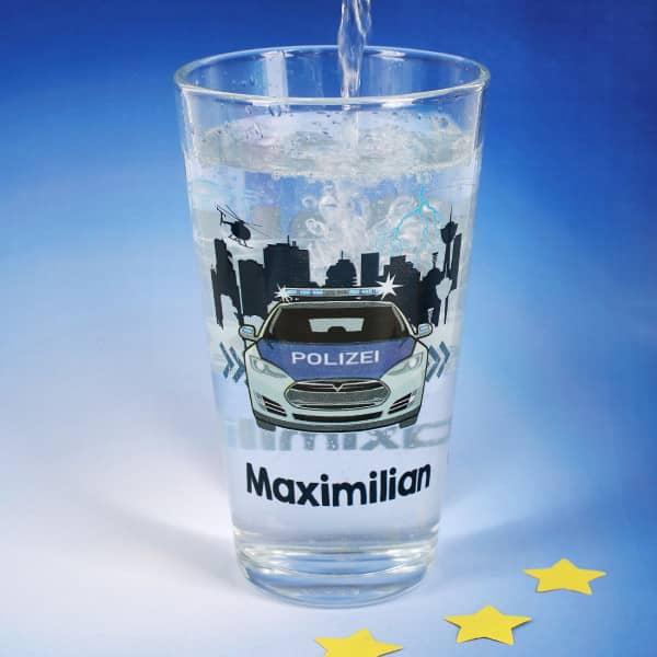 Trinkglas für Kinder mit Polizeimotiv