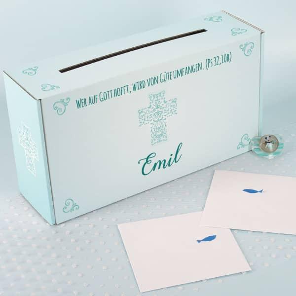 Schlichte Briefbox zur Taufe oder Kommunion