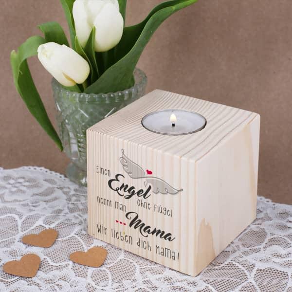 Nützlichdekoration - Holz Teelichthalter zum Muttertag - Onlineshop Geschenke online.de