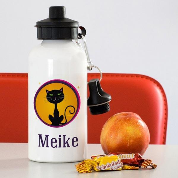 Trinkflasche mit Katze und Namen