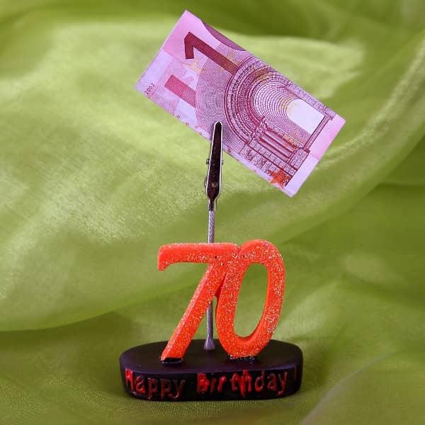 Geburtstags-Zahl 70 mit Clip