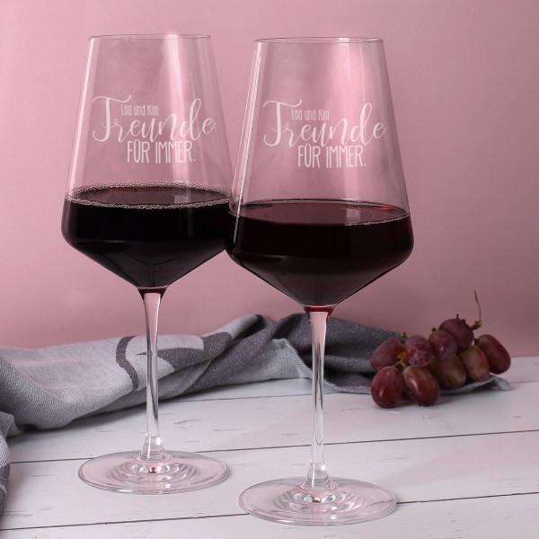 2 Freunde für immer gravierte Rotweingläser
