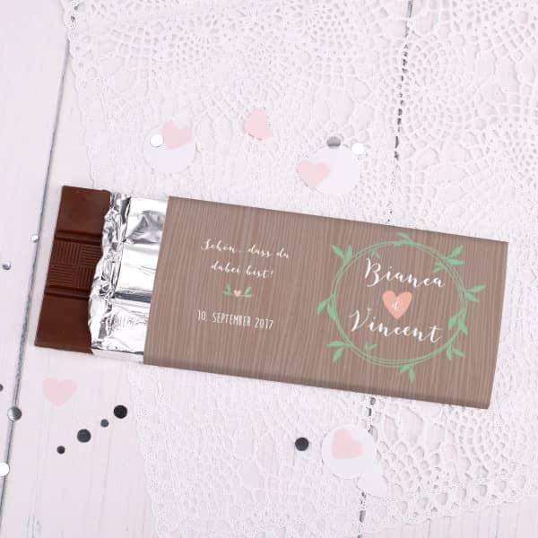 Schön, dass du dabei bist! Schokolade als Gastgeschenk zur Hochzeit