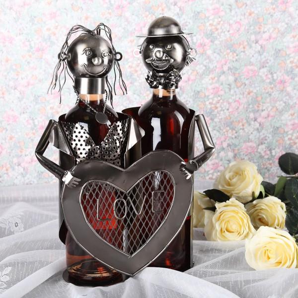 Flaschenhalter aus Metall Pärchen mit Herz für 2 Flaschen
