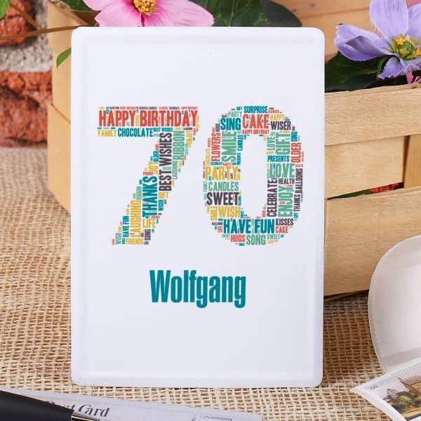 Blechpostkarte zum 70. Geburtstag