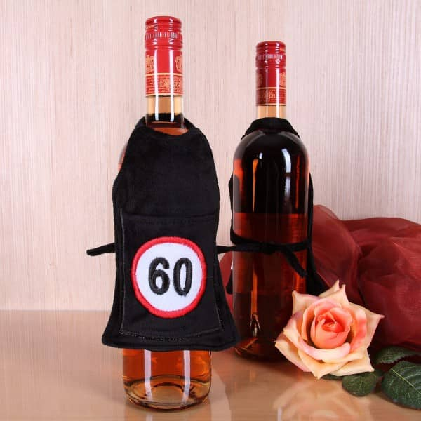 Flaschen-Schürze mit Tasche 60 aus Plüsch
