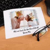 personalisiertes Brillenputztuch mit Wunschtext und Foto