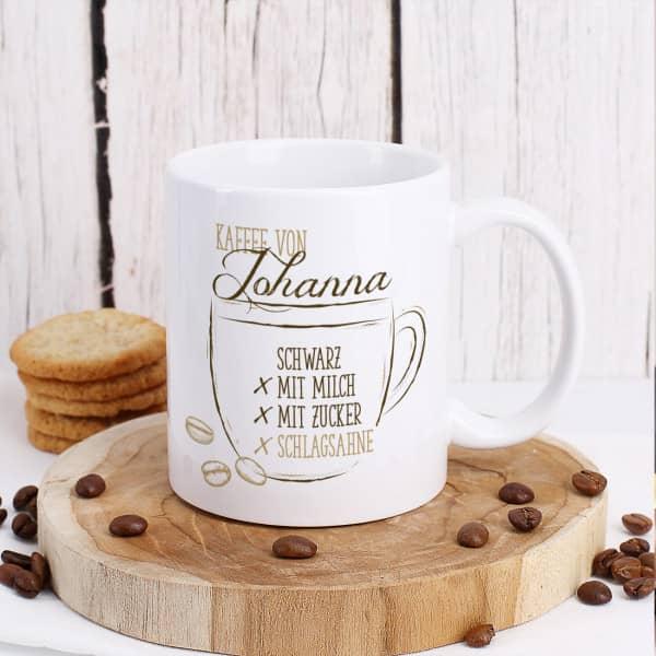 Kaffeetasse mit Ihrem Wunschnamen und Vorlieben zum Ankreuzen
