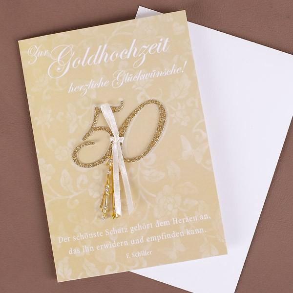 Glückwunschkarte zur Goldhochzeit Glitzer