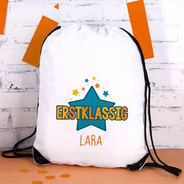 Erstklassig - Sportbeutel zum Schulanfang mit Name in orange