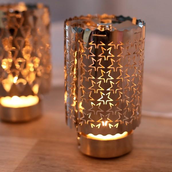 Rotierender Teelichthalter Silber - Stern